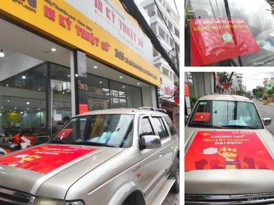 In phù hiệu xe hỗ trợ chống dịch, tin decal tem nhãn dán xe ô tô - TPHCM - hàng in lấy trong ngày