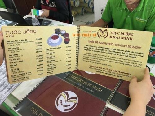 In menu bìa nhựa cao cấp làm menu lò xo tại In Kỹ Thuật Số - Ảnh: 1