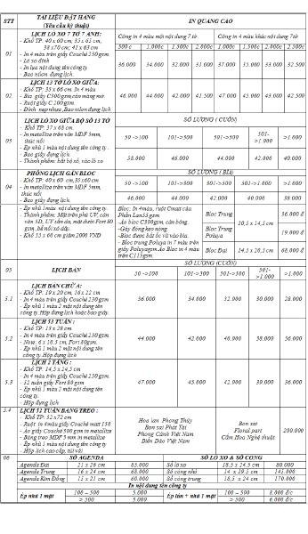 In lịch tết giá rẻ tại In Kỹ Thuật Số Lê Quang Định