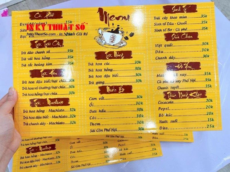 Làm menu quán cà phê đơn giản - Thiết kế menu cà phê đẹp giá rẻ tại TPHCM - Ảnh: 4