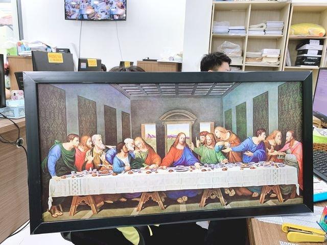Thành phẩm in tranh Bữa tiệc ly - The Last Supper (Leonardo da Vinci) tại In Kỹ Thuật Số | Khung viền đen