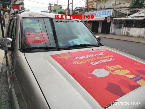 In phù hiệu xe hỗ trợ chống dịch, tin decal tem nhãn dán xe ô tô - TPHCM - hàng in lấy trong ngày - Ảnh: 1