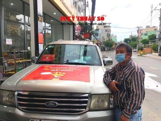 In phù hiệu xe hỗ trợ chống dịch, tin decal tem nhãn dán xe ô tô - TPHCM - hàng in lấy trong ngày - Ảnh: 2