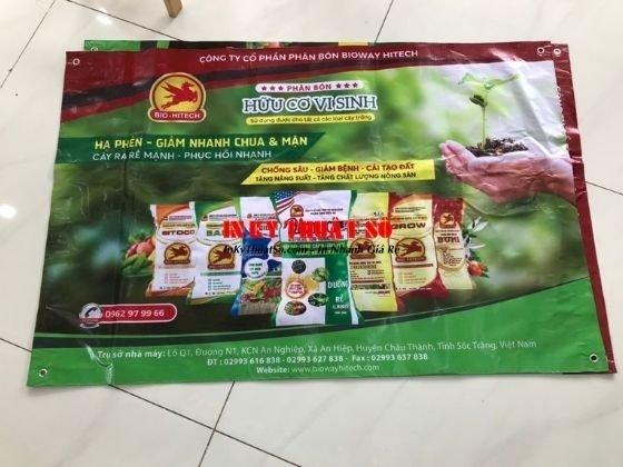 In nhanh Banner quảng cáo phân bón công ty, nhà phân phối - bạt hiflex in mọi kích thước, đóng khoen tròn 4 góc