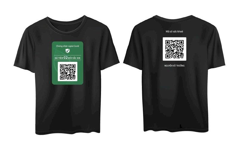 In áo phông, áo thun mã QR chứng nhận tiêm vắc xin